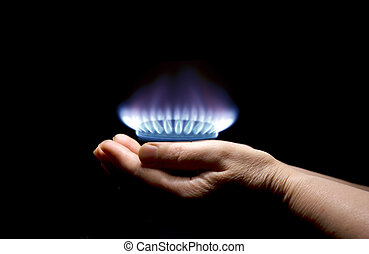 gas - Hands holding a flame gas
