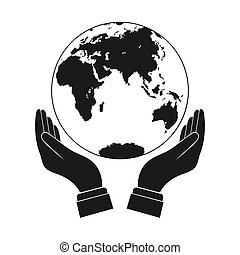 Hands holding a globe, simple design