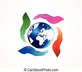 Hands holding a globe world map logo