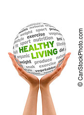 Hands holding a Healthy Living Word Sphere sign on white background.
