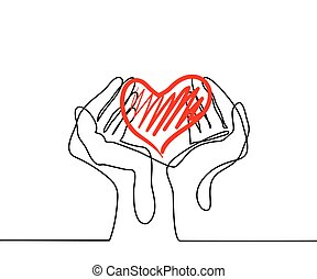 Hands holding a heart. Continuous line drawing. Vector...