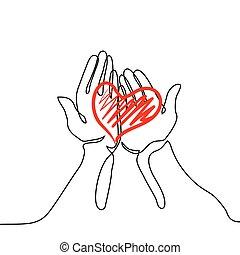 Hands holding a heart