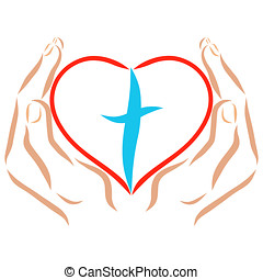 Hands holding a heart with a cross inside