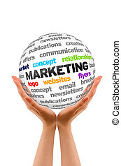Marketing - Hands holding a Marketing Word Sphere on white...