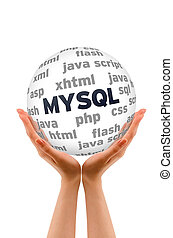 MYSQL Database - Hands holding a MYSQL Database Word Sphere...
