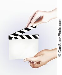 Hands Holding A Production Blank Film Slate