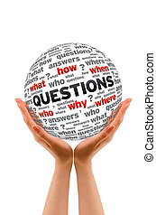 Hands holding a Questions Sphere sign on white background.