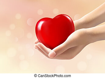Hands holding a red heart. Vector