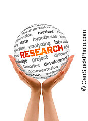 Research - Hands holding a Research Word Sphere sign on...