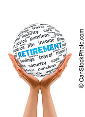 Hands holding a Retirement 3D Sphere on white background.