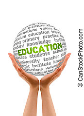 Education - Hands holding a round Education 3d Sphere.