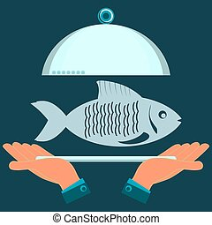 Hands holding a serving plate with the fish. The dish in the restaurant, a fish lunch.