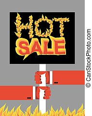 Hot sale. Fire text.