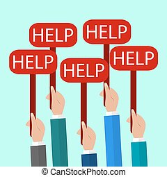 Hands Holding a Signs with the Word Help. Flat Illustration
