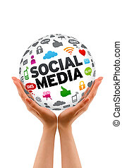 Hands holding a 3d Social Media Sphere sign on white background.