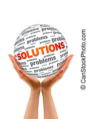 Hands holding a Solutions Sphere sign on white background.