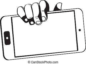 hands holding a tablet touch computer gadget - black-white