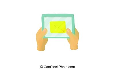 Hands holding a tablet with letter icon animation
