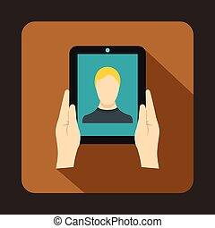 Hands holding a tablet with photo icon, flat style