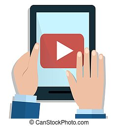 Hands Holding a tablet with video player on the screen. Flat Illustration