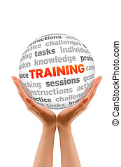 Training - Hands holding a Training Sphere sign on white ...
