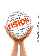 Hands holding a Vision Sphere sign on white background.