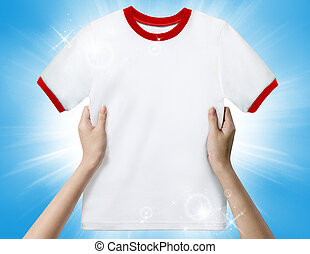 Hands holding a white clean shirt.