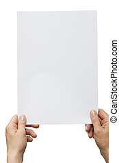 hands holding a white sheet of paper