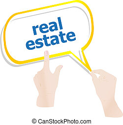 hands holding abstract cloud with real estate word