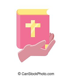 hands holding an catholic bible on white background