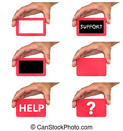 Hands holding and showing red blank cards and text messages