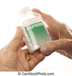 Hands holding aspirin bottle.