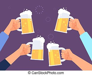 Hands holding beer glasses. Cheerful people clinking. Mates drinking beer in bar. Vector background