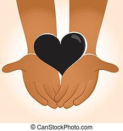 Hands Holding Black Heart