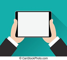 Hands holding black tablet computer