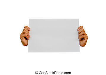 Hands holding blank advertisement card with copy space