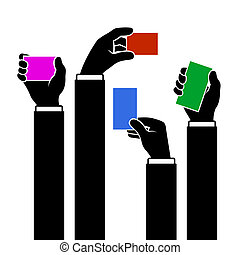 Hands Holding Blank Business Card, Vector