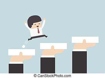 Hands holding blocks to help businessman to go to success,...