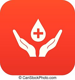 Hands holding blood drop icon digital red