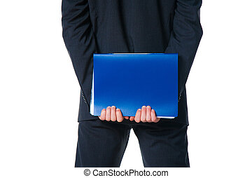 hands holding blue folder with document