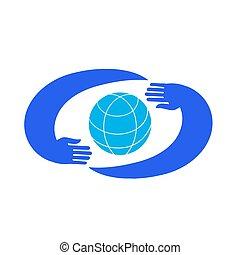 Hands holding blue planet. Logo Template.