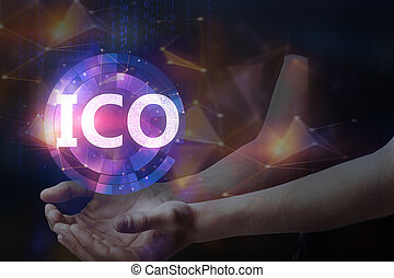Initial coin offering concept - Hands holding blurry glowing...