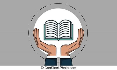 Hands holding book HD animation - Hands holding book round...