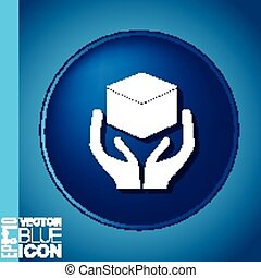 hands holding box logistic icon