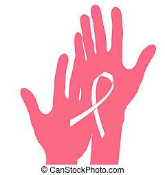 Hands holding breast cancer ribbon, vector illustration.