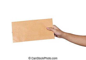 Hands holding brown envelope