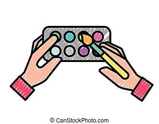 hands holding brush artistic color palette