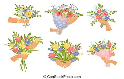 Hands Holding Bunches of Showy Flowers Vector Set