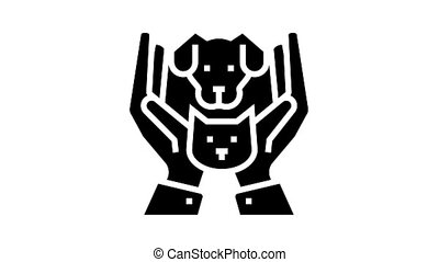 hands holding cat and dog animated glyph icon. hands holding cat and dog sign. isolated on white background