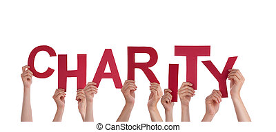 Many Hands Holding the Red Word Charity, Isolated